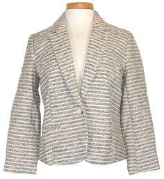 Lucky Brand Womens Jacket Metallic Textured Knit Blazer Black White M NEW $169 #LuckyBrand #BasicJacket