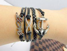 Silver LOVE BraceletInfinity braceletanchor by Colorbody on Etsy, $10.29