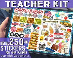250 Digital planner stickers - Teacher stickers Digital Stickers for Goodnotes iPad stickers - Goodnotes planner Digital Journal Stickers Teacher Stickers, Journal Stickers, Planner Stickers, Planner Apps, Passion Planner, Round Labels, Digital Journal, Hygge, Fragile Label
