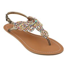 "Beaded thong 1/4"" sandal.  Adjustable buckle closure.  Rubber sole."