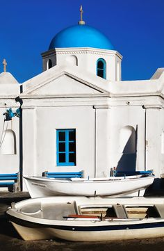 Mykonos Church & Boats, Greece St. Nicolas - the fishermen's church