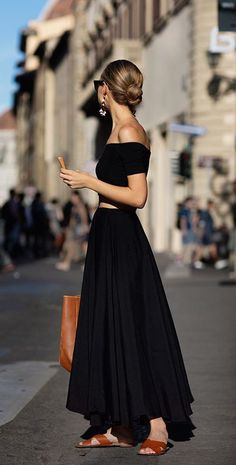 Black maxi skirt + off the shoulder top.