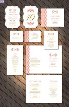 Wedding Invitation printables Monogram Lace by DallinsPaperie