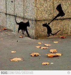 cat & mouse silouette
