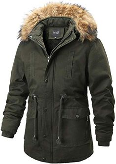 Cromoncent Mens Winter Faux Fur Hooded Sherpa Lined Patches Outwear Parka Coat