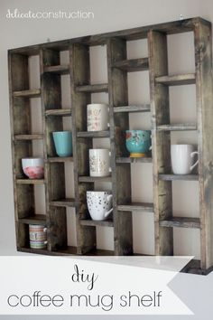 DIY Coffee Mug Shelf on Delicate Construction