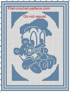 Baby blanket baby Donald Duck with teddy bear filet crochet pattern