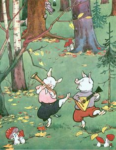 """""""The tale of the Three Little Pigs"""", illustrated by Constantine Rotov."""