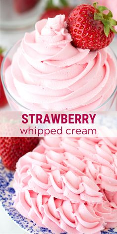 Homemade strawberry whipped cream using only 3 ingredients! Use this strawberry whipped cream as frosting for cupcakes cake and pie! This whipped cream is stable and you can pipe it! Whipped Icing Recipes, Strawberry Frosting Recipes, Whipped Cream Icing, Homemade Whipped Cream, Strawberry Desserts, Strawberry Filling For Cupcakes, Stable Whipped Cream Frosting, Cream Filling For Cupcakes, Strawberry Filling For Cake