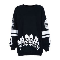 'MISBHV' Print Black Sweatshit (€25) ❤ liked on Polyvore featuring tops, romwe, oversized long sleeve top, pattern tops, print top, oversized tops and long sleeve tops