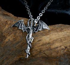 Retro Dragon Sword Necklace Pendant With Chain