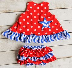 Red White Blue Chevron Print Star Applique Birthday July 4th/Memorial Day Patriotic Ruffled Swing Top Bloomer Boutique Set Outfit by SwankyDudzBoutique on Etsy