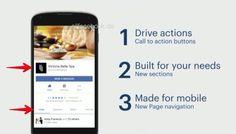Redesign für mobile Facebook Pages: neue CTAs, neues Menü und das Comeback der Tabs (F8 2016)