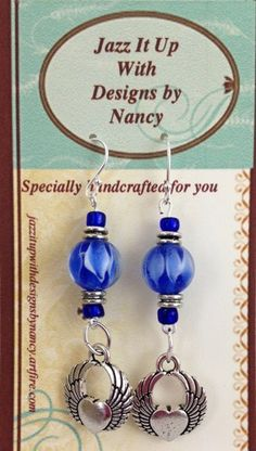 Stunning Cobalt Blue Lampwork Bead Heart with Wings Handmade Earrings #Artfire #handmade #jewelry