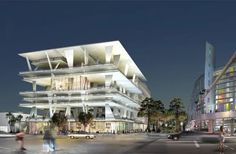 Illustration of Eleven Eleven parking garage in Miami by Herzog and de Meuron (completed Eleven Eleven, South Beach Miami, Miami Florida, Hanover Germany, Jacques Herzog, Lincoln Road, Art Basel Miami, Amazing Buildings, Garage Design
