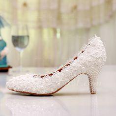 Femmes Bout fermé Escarpins Talon bas Dentelle Chaussures de mariage