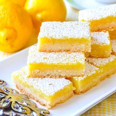 Easy Lemon Bars - made with only 5 simple ingredients! - Desserts Super Easy Lemon Bars - made with only 5 simple ingredients! - Desserts - Super Easy Lemon Bars - made with only 5 simple ingredients! Lemon Coconut Bars, Best Lemon Bars, Lemon Cake Bars, Recipe For Lemon Bars, Lemon Dessert Recipes, Recipes With Lemon, Lemon Brownies, Easy Lemon Squares Recipe, Desserts With Lemon