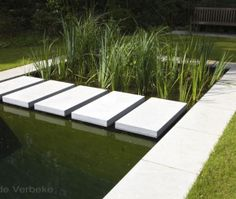 zwemvijver ‹ De Mooiste Zwembaden Koi Pond Design, Small Pool Design, Landscape Design, Garden Design, Contemporary Water Feature, Brick Wall Decor, Raised Pond, Front Yard Design, Design Jardin
