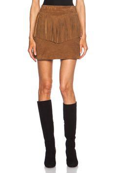 Saint Laurent A-Line Suede Fringe Skirt in Whisky   FWRD [1]