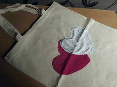 Upcycled Heart Applique Canvas Shopping Tote Bag by LilCraftyMe, £5.00