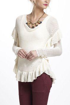 Ruffled Crochet Pullover #anthropologie