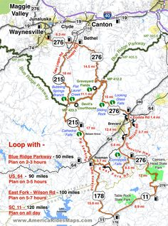 Great Motorcycle Rides in North Carolina - Pisgah Triangles motorcycle map