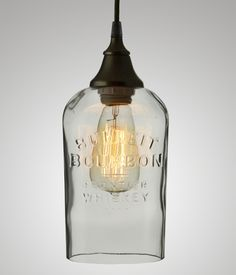 Bottle Pendant, Bulleit Bourbon #bottle #modern #recycled #repurposed