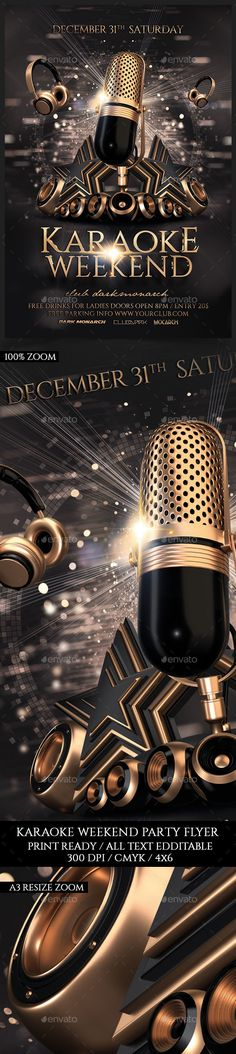 Karaoke Weekend Party Flyer Template PSD
