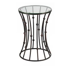 Joveco Brownish Black Accent Metal Curve Shaped Round End Table with Glass Top - Nice product and looks to be quality made.When you search for good end tables w Side Coffee Table, Coffee Table With Storage, Modern Coffee Tables, Metal Nesting Tables, Metal Side Table, Side Tables, Contemporary Dining Room Sets, Living Room Table Sets, Dining Sets