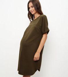 8c0a60b10cc Maternity Khaki V Neck Tunic Dress