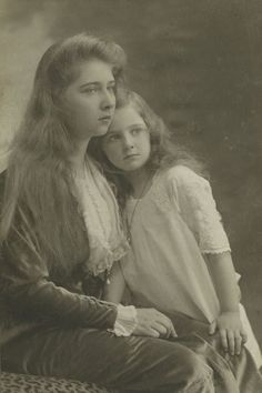 Princesses Ileana and Mignon of Romania, daughters of Queen Marie, daughter of Prince Alfred, son of Queen Victoria