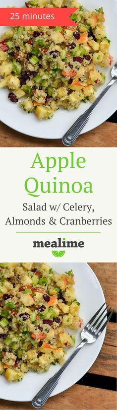 Apple Quinoa Salad with Celery, Almonds, & Dried Cranberries - a quick and healthy Mealime recipe for one or two. Flexitarian, pescetarian, vegetarian, dairy free, fish free, gluten free, peanut free, shellfish free. #mealplanning: