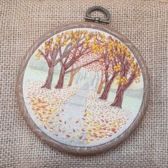 Autumn Fall Embroidery Hand Embroidery Hoop Autumnal Landscape