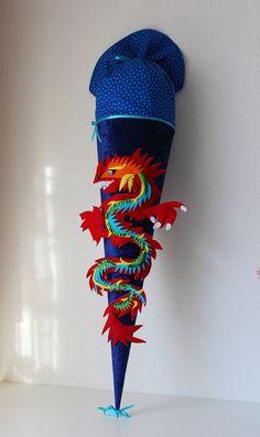 """Schultüten - Schultüte, Zuckertüte, """"Drache"""" - ein Designerstück von Anastasiyas-Stoffmaerchen bei DaWanda"""