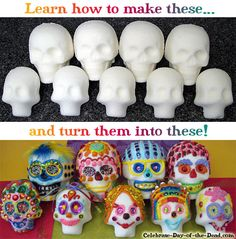 Learn how to make Day of the Dead sugar skulls with these detailed step-by-step tutorials by Thaneeya McArdle! (I think paper mache ones and paint or stickers would be cool, too. Day Of The Dead Party, Day Of The Dead Skull, Halloween Crafts, Halloween Decorations, Colorful Skulls, Diy Arts And Crafts, Diy Crafts, Painting For Kids, Skull Art