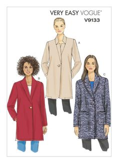 Coat Pattern Sewing, Vogue Sewing Patterns, Coat Patterns, Jacket Pattern, Vintage Sewing Patterns, Clothing Patterns, Print Patterns, Coats For Women, Jackets For Women