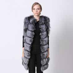 Real Fox Fur Vest Women Style Brand Long Nature Silver Fur Vest Waistcoat Fox Fur Warm Fashion Stripe Women Real Fox Fur Vest