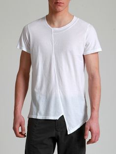 ASYMMETRIC FINE COTTON T-SHIRT WITH AGING EFFECT SPECIAL DYE - JACKETS, BLAZERS, SHIRTS, TROUSERS, JERSEY, KNITWEAR, ACCESORIES - Man -