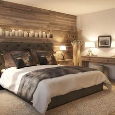 12 great ideas for wall design in the bedroom - Hotel Arlberg Jagdhaus: country style bedroom by Go Interiors GmbH Best Picture For soggiorno piet - Modern Rustic Bedrooms, Rustic Bedroom Design, Master Bedroom Design, Home Bedroom, Bedroom Wall, Bedroom Furniture, Bedroom Decor, Bedroom Country, Contemporary Bedroom