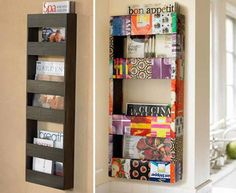spice up the magazine rack with some contact paper... decoupage magazine pages or wallpaper