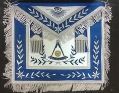 MASONIC HAND EMBROIDER PAST MASTER APRON BLUE SILK BORDER SILVER EMBROIDERY