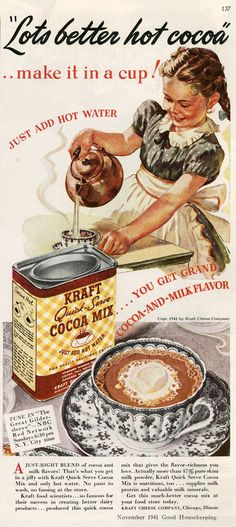 1940. Now who could't live with out quick mix Hot Chocolate Milk. I know I sure couldn't.