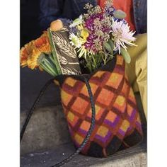 Mitered Square Felted Tote Knitting Pattern from Interweave. $5.50.