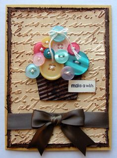 Amarilys's Scrappy Corner: monday...Cosmo Cricket buttons cupcake card