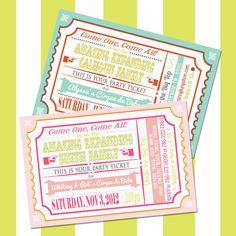 Custom Circus Baby Shower Invitation, Printable Vintage Carnival Ticket, Gender Reveal Party, Pink, Blue, Orange. $15.00, via Etsy.