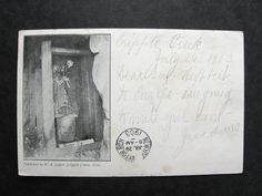 1903 Miners in Mine Cripple Creek Postcard Used Victor Colorado to Germany