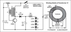 LEDs are becoming increasingly popular in many lighting applications. White LEDs are now common in torches. Here's a simple and economical LED torch that operates off two 1.5V cells. For a white LED, the forward conduction voltage and the forward current are 3.6V and 20 mA, respectively. Capacitor C1, the transistor, and the transformer form …