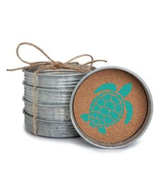 Look what I found on #zulily! Sea Turtle Mason Jar Lid Stacking Coaster - Set of Four #zulilyfinds
