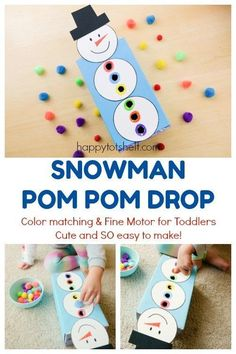Snowman Pom Pom Drop - Happy Tot Shelf - - Snowman pompom drop, a color matching and fine motor DIY learning activity for toddlers. Winter Activities For Toddlers, Snow Activities, Winter Crafts For Kids, Winter Fun, Christmas Toddler Activities, Diy Toys For Toddlers, Preschool Winter, Winter Theme, Diy Learning Toys