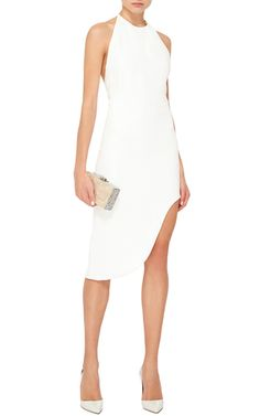 An evening out. Sleeveless Asymmetrical Halter Dress by CUSHNIE ET OCHS Now Available on Moda Operandi